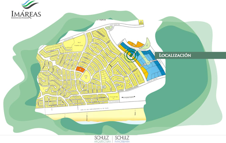 Ubicación de Imáreas en Pinamar Norte.: Hoteles de estilo  por Estudio Schulz,