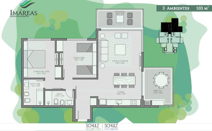 3 ambientes: Hoteles de estilo  por Estudio Schulz,