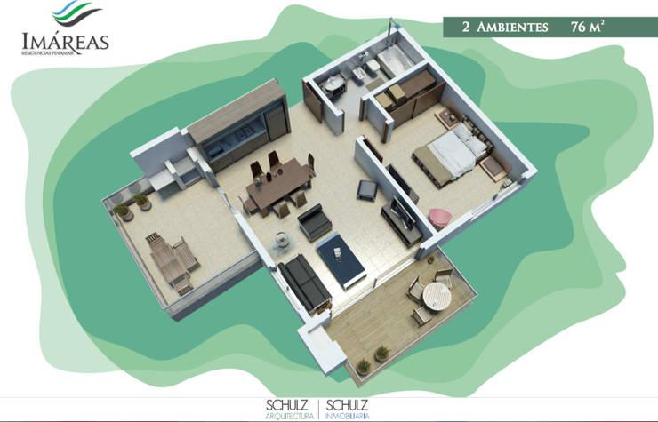 2 ambientes: Hoteles de estilo  por Estudio Schulz,