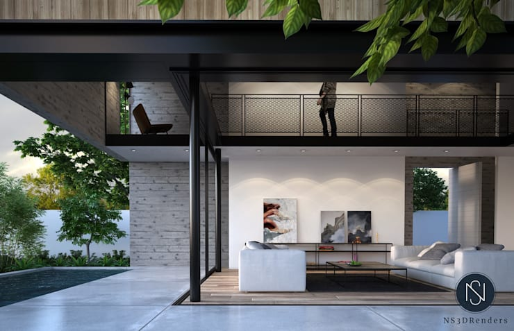 Living room by Ns3drenders, Modern Concrete