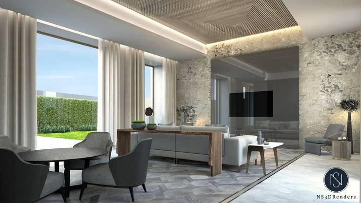 Isabel Interiors Residential :  Living room by Ns3drenders, Modern Wood Wood effect