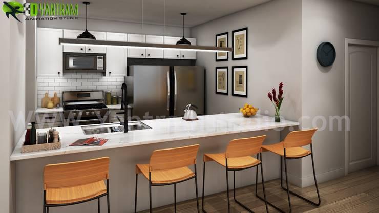 Modern Small Kitchen Design Ideas By Yantram 3d Interior Rendering