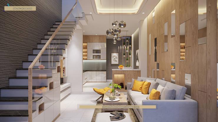 Phòng khách by Cong ty thiet ke nha biet thu dep Kien An Vinh