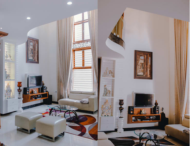 Mr. Rajeshekar Residence:  Living room by Geometrixs Architects & Engineers