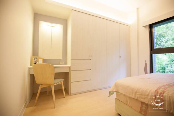 氧氣-2個人的20坪簡約北歐小家庭:  臥室 by 酒窩設計 Dimple Interior Design