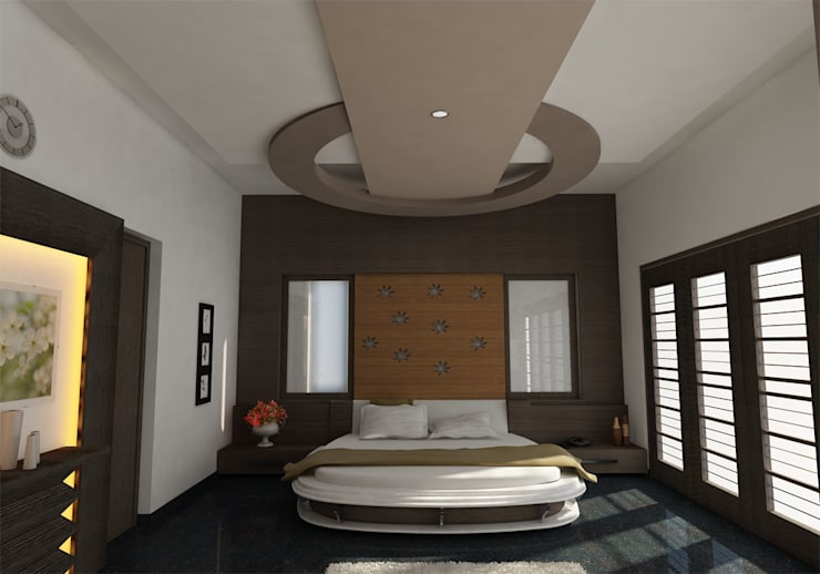 INTERIOR OF MASTERBEDROOM: classic  by Monoceros Interarch Solutions,Classic Wood Wood effect