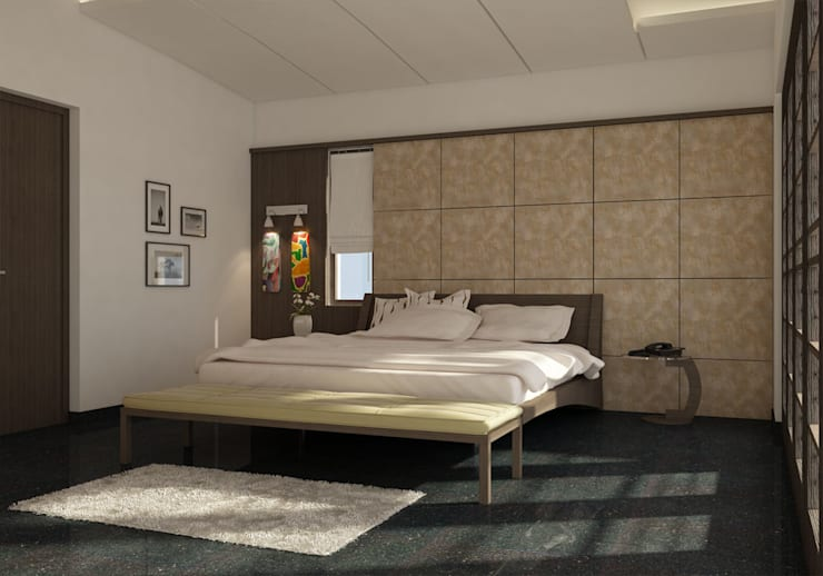 BEDROOM INTERIOR : modern  by Monoceros Interarch Solutions,Modern Wood Wood effect