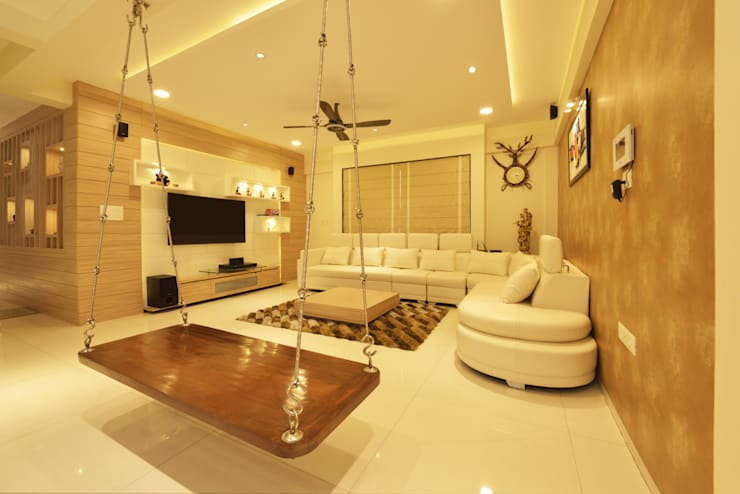 Mr Swapnil Choudhary: modern Living room by GREEN HAT STUDIO PVT LTD