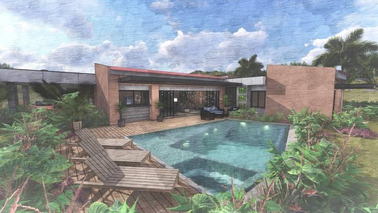Casa Villa Real: Piscinas de estilo  por Conceptual Studio ARQUITECTUR