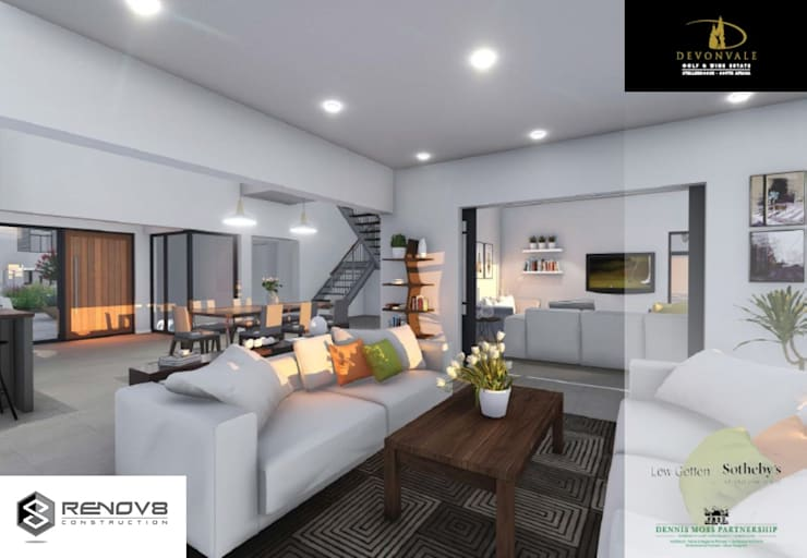 Artists Rendering of Finishes and Interior Design:  Living room by Renov8 CONSTRUCTION, Modern