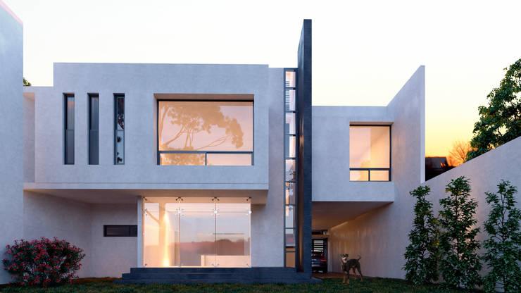 FACHADA POSTERIOR: Casas de estilo  por 3h arquitectos