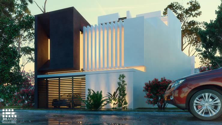 FACHADA PRINCIPAL- LOMAS DEL VALLE : Casas de estilo moderno por 3h arquitectos