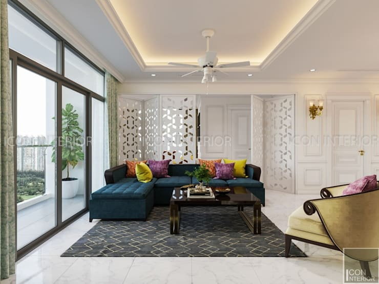 NGÔI NHÀ NUÔI DƯỠNG TÌNH YÊU – Thiết kế căn hộ ấn tượng tại Vinhomes Central Park:  Phòng khách by ICON INTERIOR