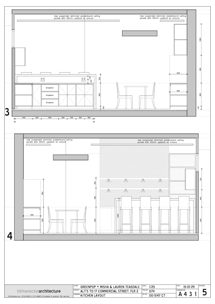kitchen elevation drawings:  Kitchen by Till Manecke:Architect