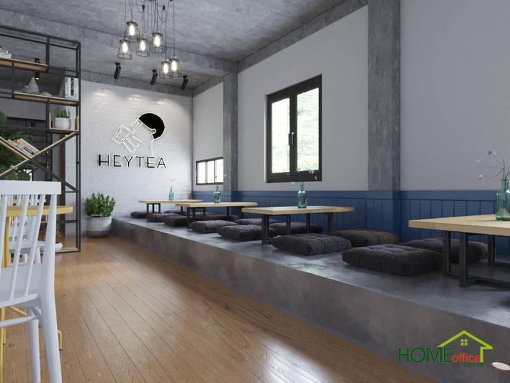 Khu vực ngồi bệt của quán trà sữa:  Cầu thang by Home Office