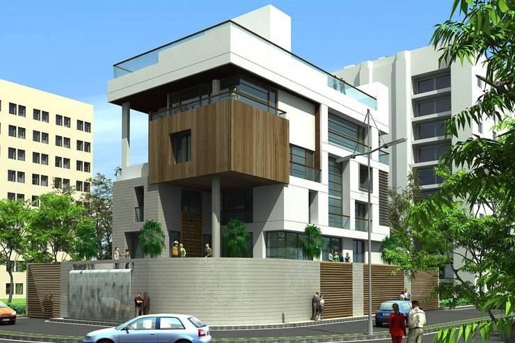 CHOKSI BUNGALOW:  Houses by smstudio,Modern
