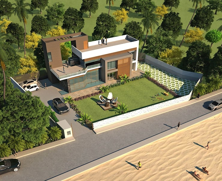 UMBERGAON BUNGALOW:  Houses by smstudio,Modern