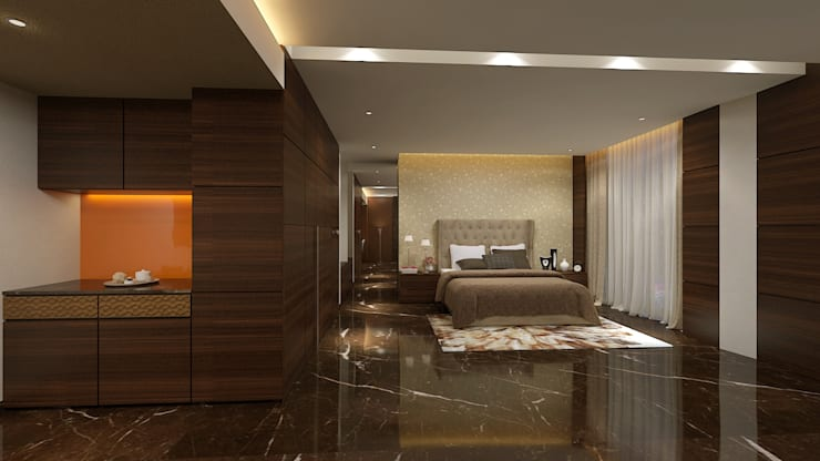 ICICI GUEST HOUSE HYDERABAD:  Bedroom by smstudio,Modern