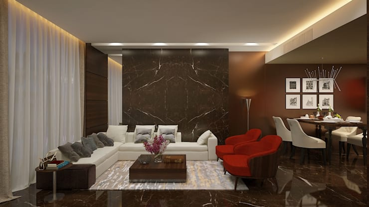 ICICI GUEST HOUSE HYDERABAD:  Living room by smstudio,Modern