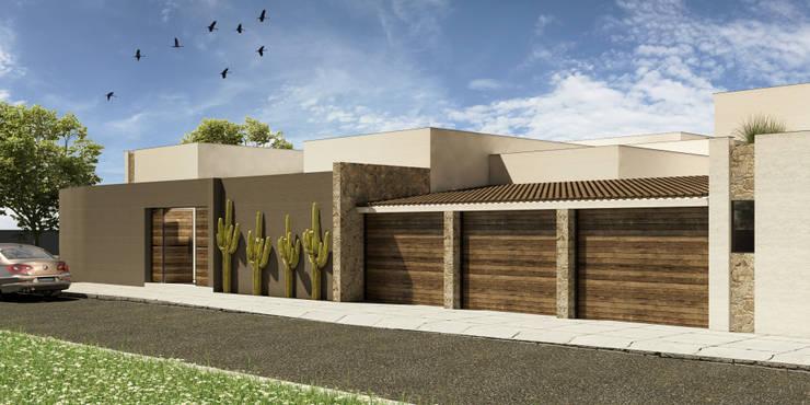 Fachada Norte: Casas unifamiliares de estilo  por Grupo PAAR Arquitectos
