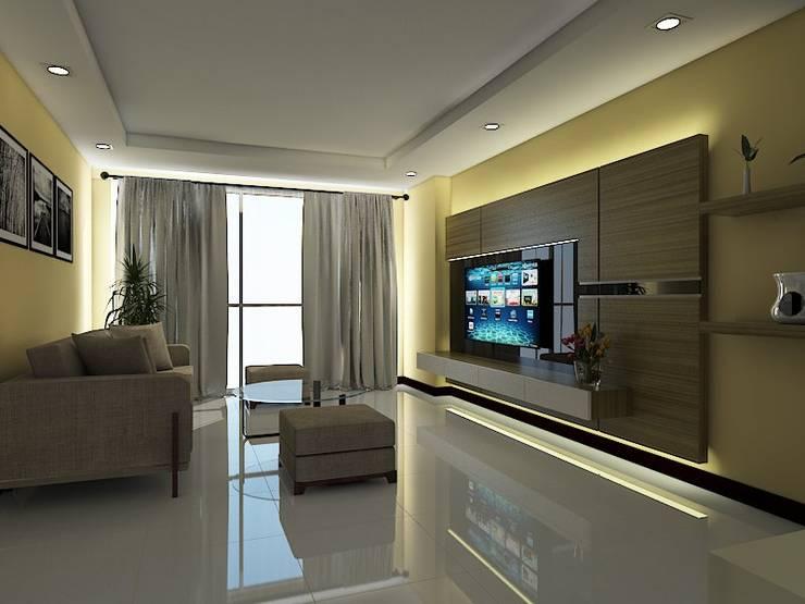 backdrop tv tangerang:  Living room by grindulu interior