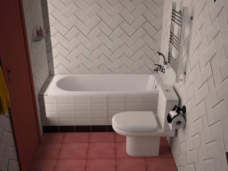 Монмартр: Ванные комнаты в . Автор –  Яна Васильева. дизайн-бюро ya.va, Эклектичный Керамика