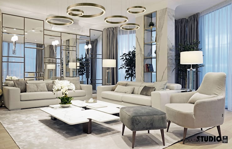 Living room by MIKOŁAJSKAstudio , Eclectic