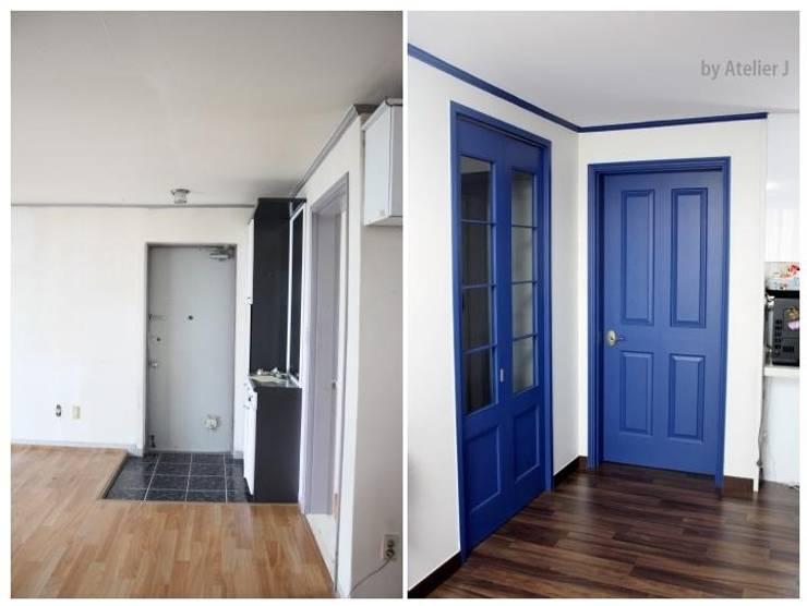 20년된 아파트 컬러포인트로 리모델링 ; 현관  BEFOR & AFTER: Atelier J의