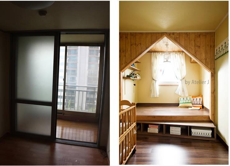 20년된 아파트 창문 디자인 리모델링 포인트 ; 아이방  BEFOR & AFTER: Atelier J의