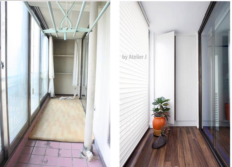 20년된 아파트 확장업이 마루 연장 포인트로 리모델링 ; 베란다  BEFOR & AFTER: Atelier J의