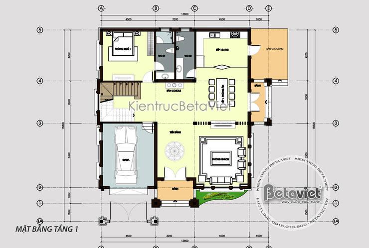 Mặt bằng tầng 1 mẫu thiết kế biệt thự 3 tầng phong cách Châu Âu (CĐT: Bà Mai - Hưng Yên) KT18037:   by Công Ty CP Kiến Trúc và Xây Dựng Betaviet