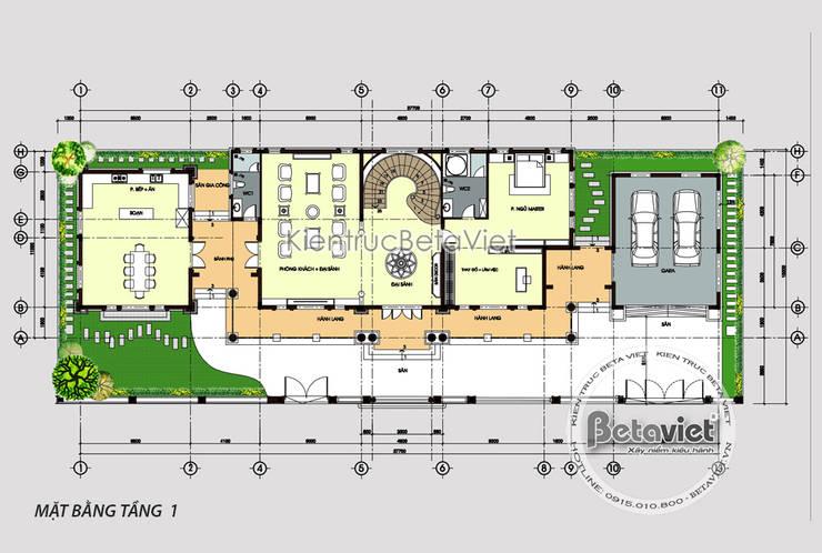 Mặt bằng tầng 1 mẫu thiết kế biệt thự 3 tầng Tân cổ điển đẹp lung linh (CĐT: Ông Thắng - Quảng Ninh):   by Công Ty CP Kiến Trúc và Xây Dựng Betaviet
