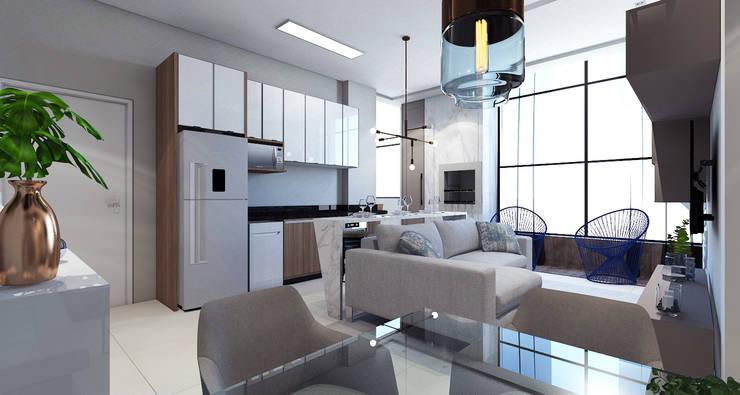 Cozinha integrada: Cozinhas modernas por Laboratório Treze Arquitetura + Design