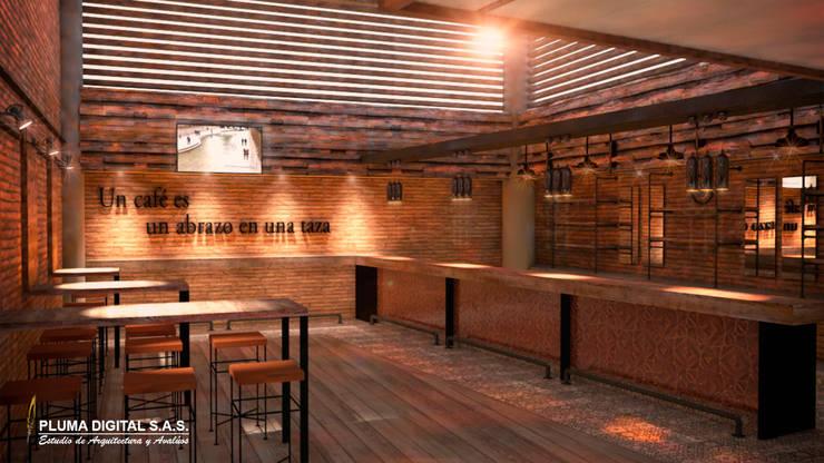Centro Empresarial del Norte del Valle de Aburrá (CENVA): Oficinas y Tiendas de estilo  por PLUMA DIGITAL SAS.