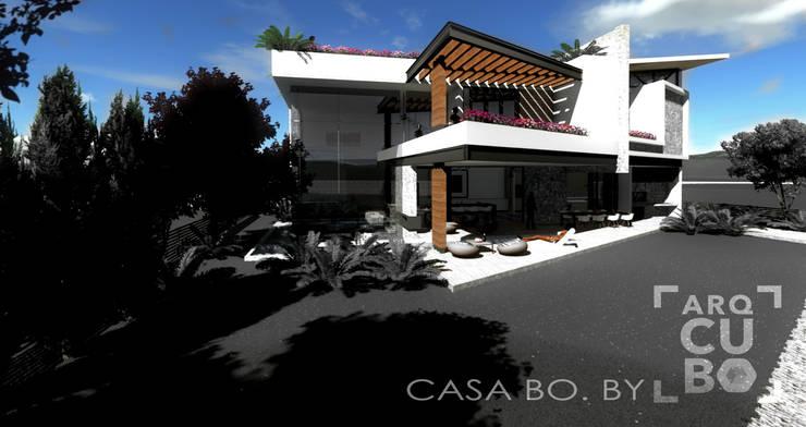 FACHADA POSTERIOR: Casas de estilo  por ArqCubo