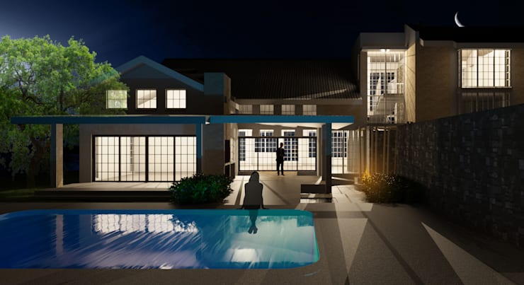 Night render from pool Render:  Garden Pool by Nuclei Lifestyle Design, Modern