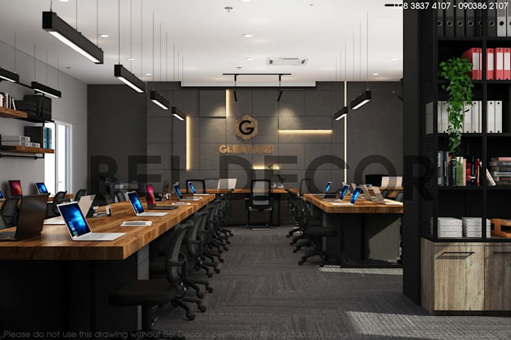 OF1722 Industrial Office Interior Design & Construction/ Bel Decor:   by Bel Decor