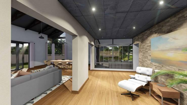 Mooikloof House:  Corridor & hallway by du Toit Arch, Modern Wood Wood effect