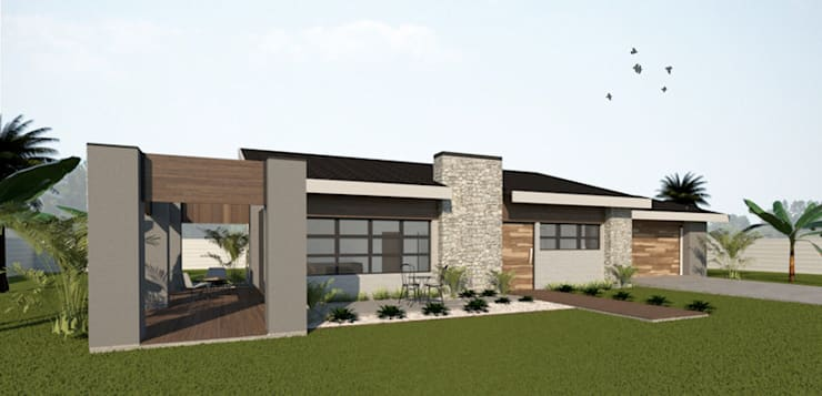 Front:  Single family home by A4AC Architects, Rustic