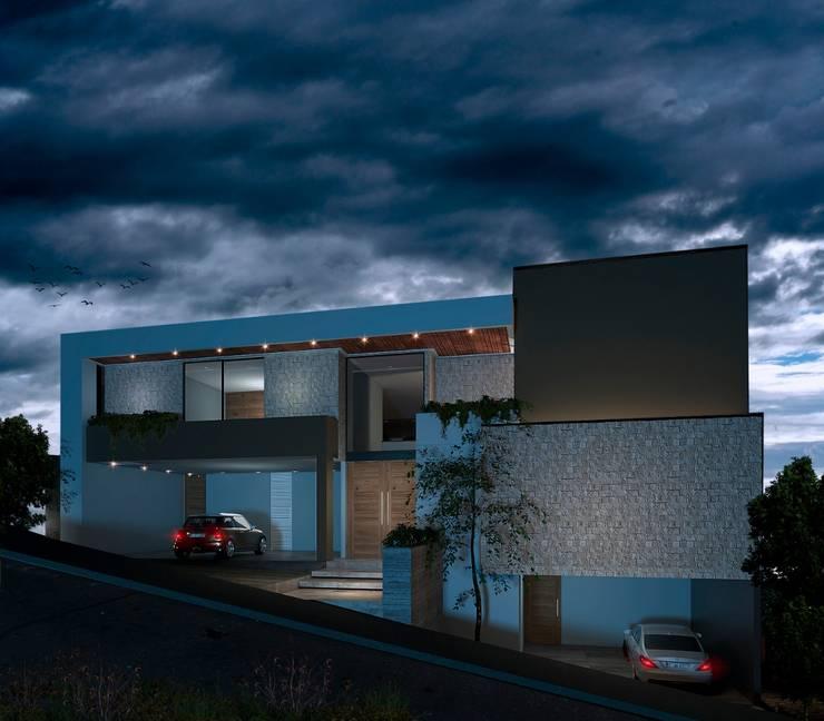 FACH. NOCHE: Casas unifamiliares de estilo  por Kombo Creativo