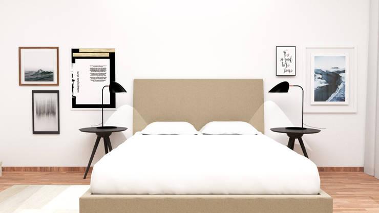 A parede da cama: Quarto  por IAM Interiores