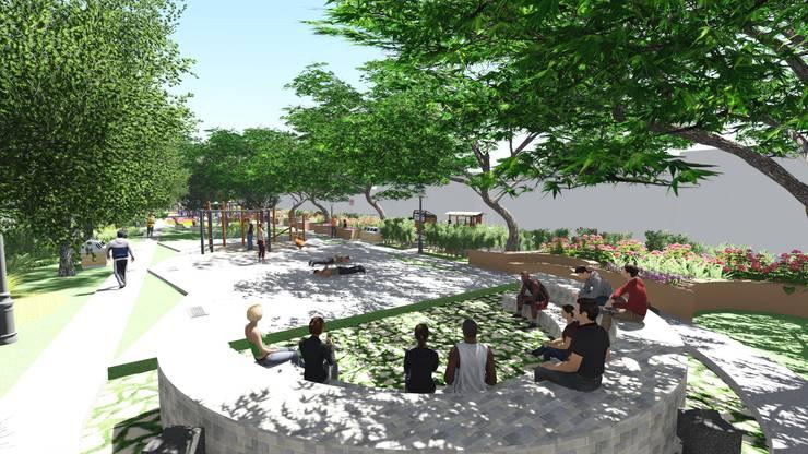 DESAIN TAMAN LINGKUNGAN PERUM VILLA CINERE MAS:  Halaman depan by 1mm studio | Landscape Design
