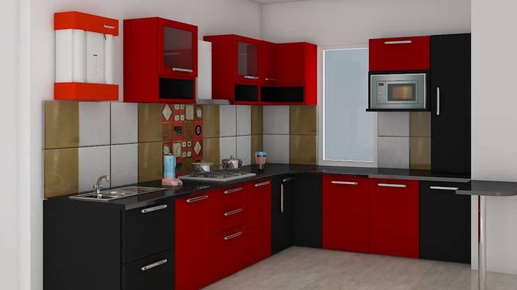 Red & Black Modular Kitchen: classic  by decoruss Interior designer and decorator,Classic Plywood