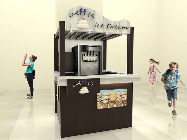 Stand Comercial Heladeria: Espacios comerciales de estilo  por Pinto Arquitectura,