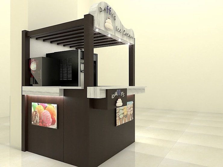 Stand Comercial Heladeria1: Espacios comerciales de estilo  por Pinto Arquitectura,