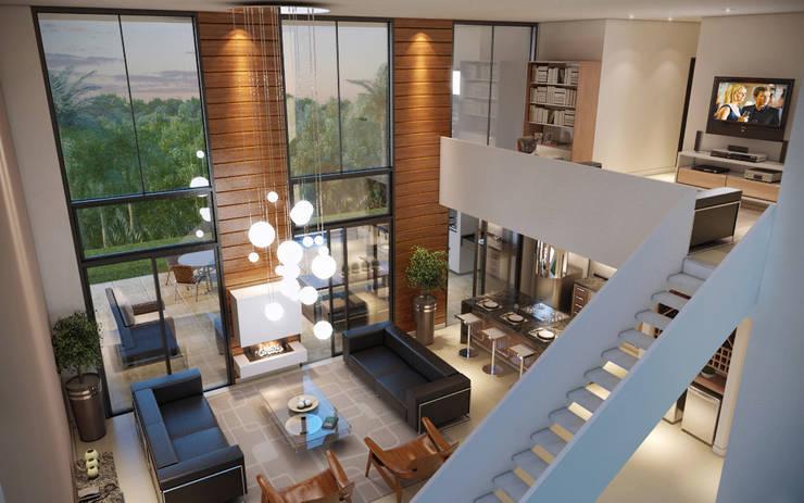Vista Interna do Loft : Salas de estar  por Paulo Stocco Arquiteto