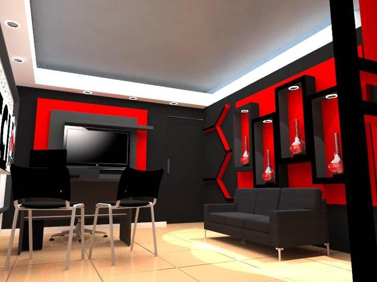 Diseño de interiores, modelado 3d showroom tu casa inteligente: Salas / recibidores de estilo  por arqyosephlopez
