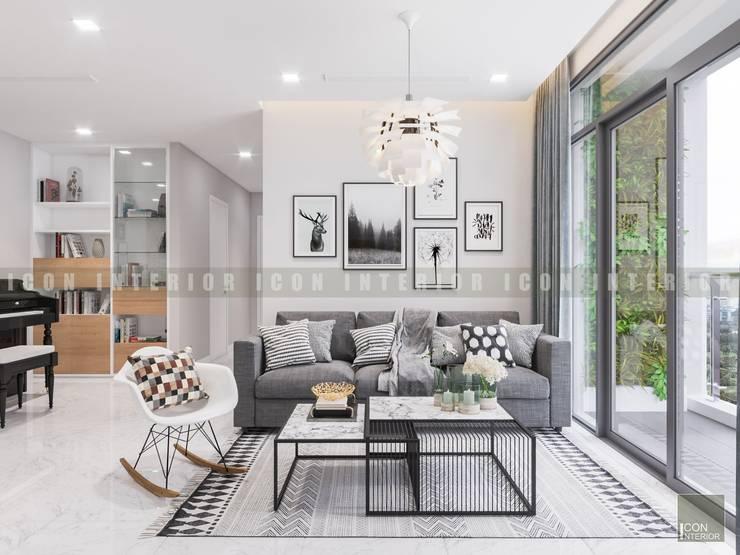 Vẻ đẹp thanh lịch đến từ sự đơn giản - Phong cách thiết kế hiện đại:  Phòng khách by ICON INTERIOR
