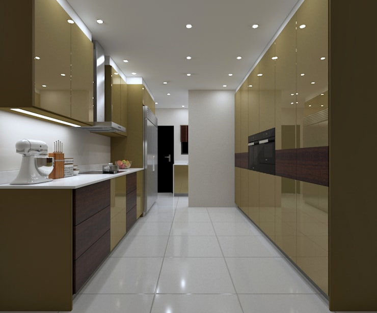LUXURY KITCHEN - Gold Gloss Cabinets :  Built-in kitchens by Linken Designs , Modern Silver/Gold