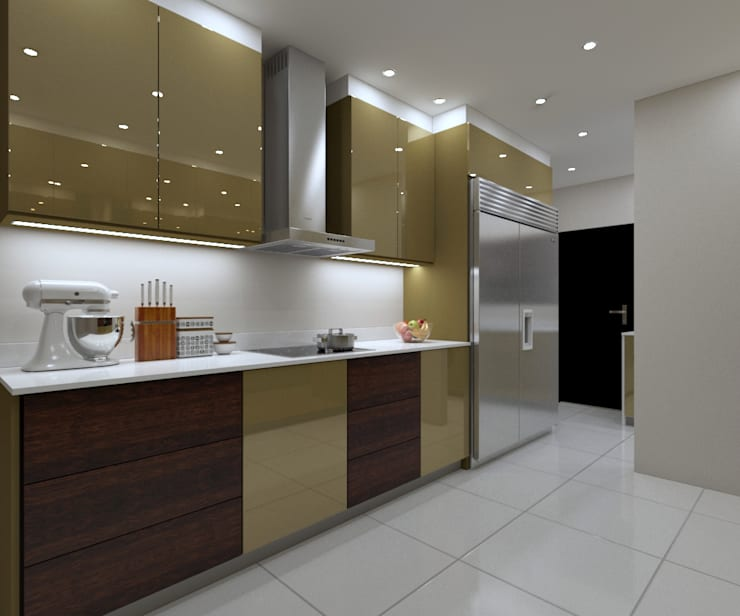 LUXURY KITCHEN - cooking space:  Built-in kitchens by Linken Designs , Modern Silver/Gold